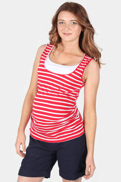Maternity & Nursing Tank Top in Red White Stripe