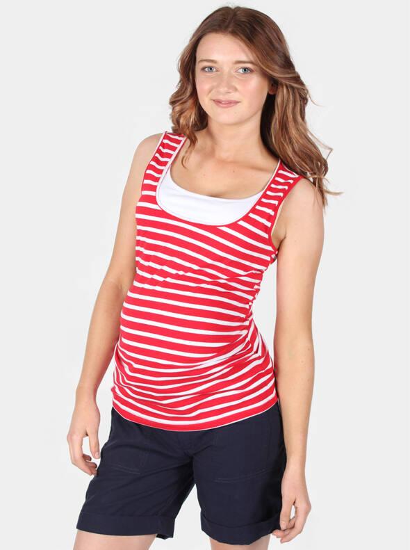Maternity & Nursing Tank Top in Red White Stripe