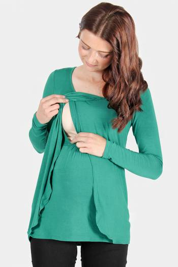 Petal Front Maternity & Nursing Top in Green