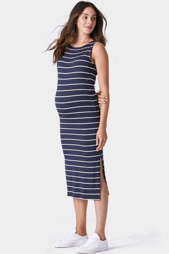 Edie Bodycon Maternity Dress in Nasy Stripe