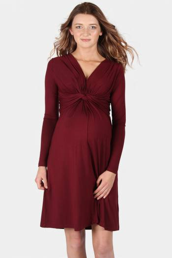 Trinity Knot Front Maternity Dress in Bordeaux