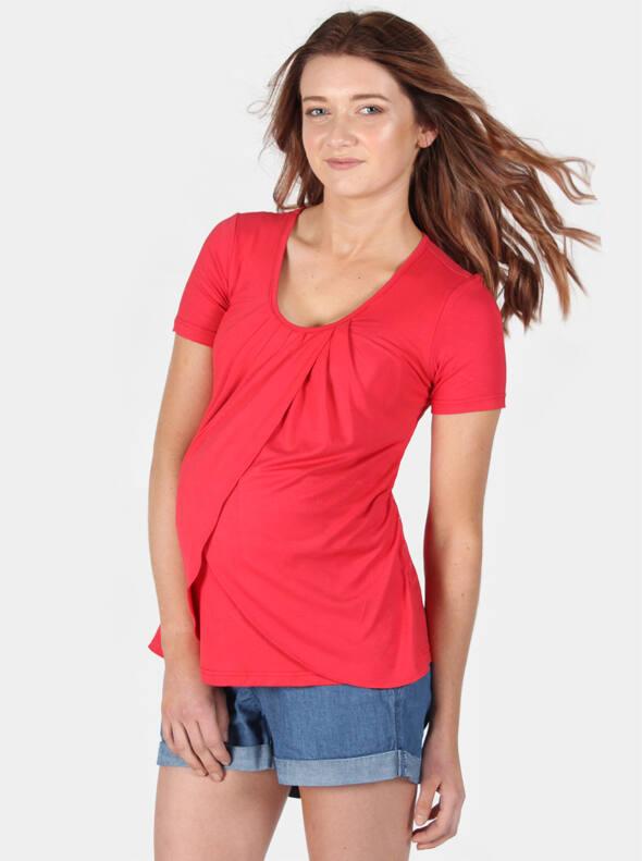 Petal Front Maternity & Nursing Top in Lust Red