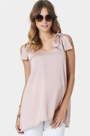 Maternity Satin Tie Top in Nude