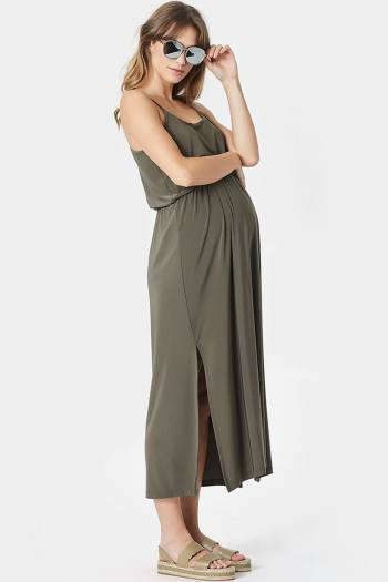 Maxi Materntiy Dress in Khaki