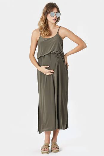 Maxi Maternity Dress in Khaki