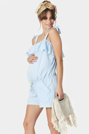 Maternity Playsuit in Chambray