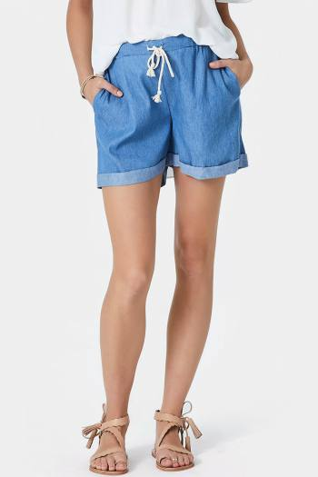 Maternity Chambray Shorts