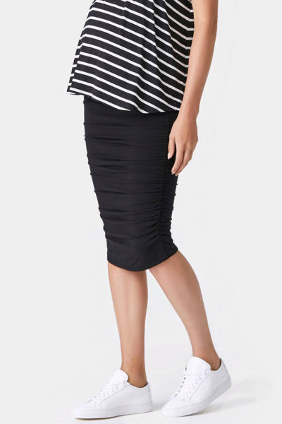 Side Rouched Maternity Skirt in Black