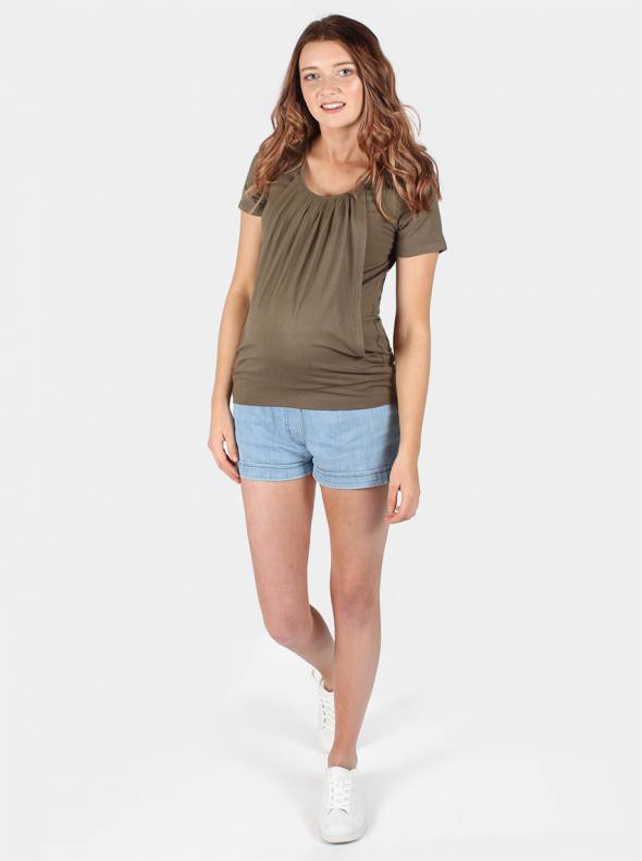 River Maternity & Breastfeeding Top in Khaki