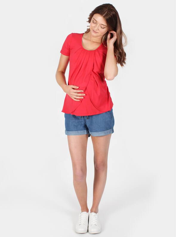 Petal Maternity & Nursing Top in Lush Red