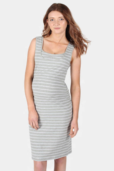 Maternity & Nursing Tank Dress in Grey Stripe