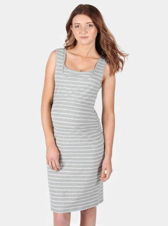 Maternity & Nursing Tank Dress in Grey Stripe