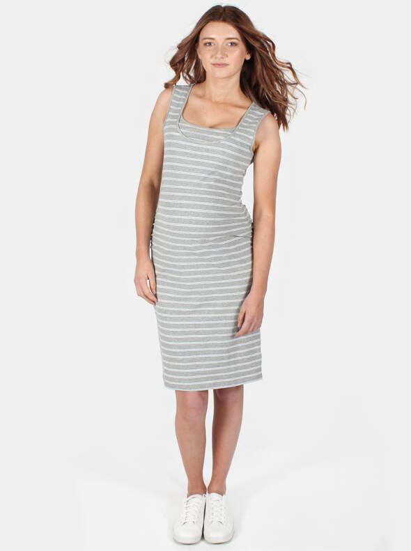 Nursing Tank Dress Grey Stripe