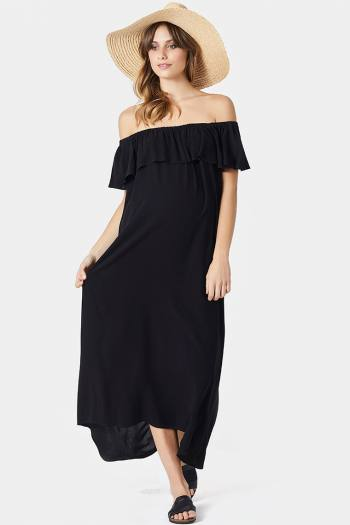 On and Off Shoulder Maxi in Black