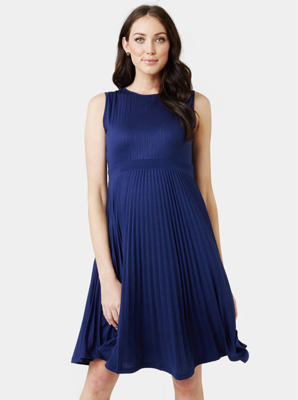 Knife Pleat Maternity Dress